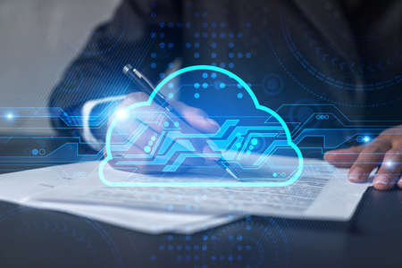 Woman signs agreement. Cloud it hologram. Double exposure . Data storage concept.