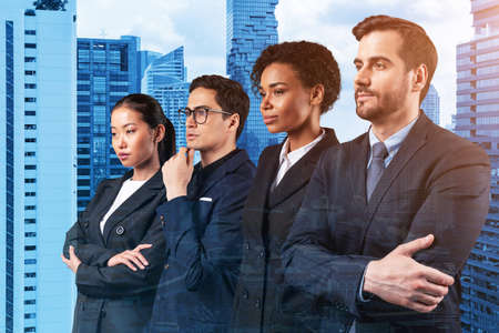 Four successful business consultants standing in a row in suits and ready to tackle with customer problem. Bangkok cityscape. Multinational corporate team. Double exposure.