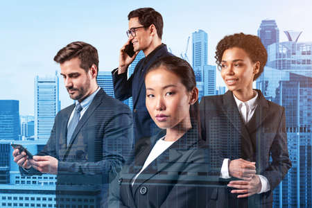 Group of four business colleagues in suits working and dreaming about new career opportunities after MBA graduation. Concept of multinational corporate team. Singapore on background. Double exposure.