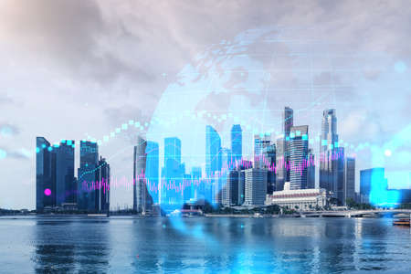 Forex and stock market chart hologram over panorama city view of Singapore, the financial center in Asia. The concept of international trading. Double exposure.