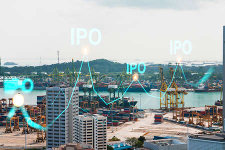 IPO icon hologram over panorama city view of Singapore, the hub of initial public offering in Asia. The concept of exceeding business opportunities. Double exposure.