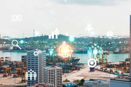 Research and development hologram over panorama city view of Singapore, hub of new technologies to optimize business in Asia. Concept of exceeding opportunities. Double exposure. Archivio Fotografico