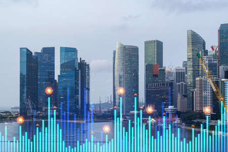 Financial stock chart hologram over panorama city view of city, business center in Asia. The concept of international transactions. Double exposure. Zdjęcie Seryjne