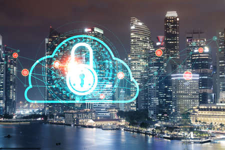 Glowing Padlock hologram, night panoramic city view of Singapore, Asia. The concept of cyber security to protect companies. Double exposure. 免版税图像