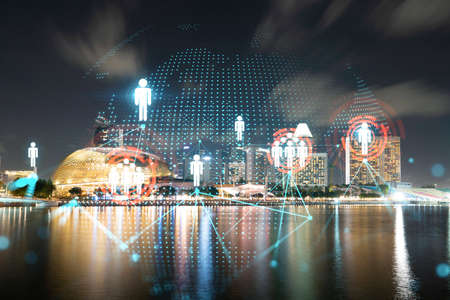 Glowing Social media icons on night panoramic city view of Singapore, Asia. The concept of networking and establishing new connections between people and businesses. Double exposure.