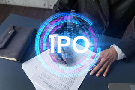 Woman signs agreement. IPO icon hologram. Double exposure . investment concept. Stock Photo
