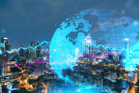 Night time view cityscape of Bangkok city background with financial graph. Success and finance concept. Multiexposure