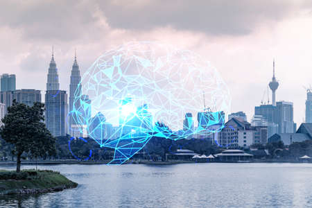 Glowing human brain hologram, aerial panoramic cityscape of Kuala Lumpur at sunset. KL is the center of business education in Malaysia, Asia. Double exposure. Standard-Bild
