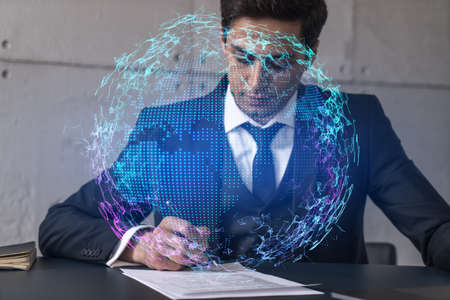 Businessman in office signs contract and world map hologram. Double exposure. Formal wear. International business connection.