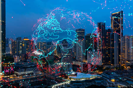 Hologram of Earth planet map on night panoramic cityscape of Kuala Lumpur, Malaysia, Asia. The concept of international companies in KL. Multi Exposure. Imagens