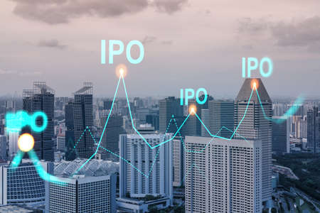 Hologram of IPO glowing icon, sunset panoramic city view of Singapore. The financial hub for transnational companies in Asia. The concept of boosting the growth by IPO process. Double exposure. Stock Photo