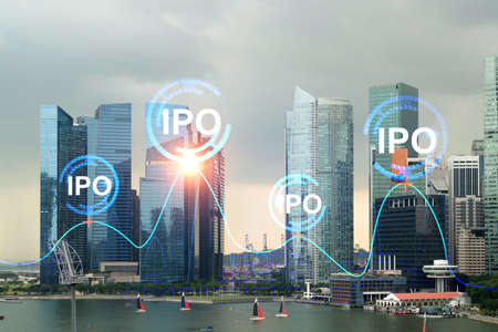 Hologram of IPO glowing icon, sunset panoramic city view of Singapore. The financial hub for transnational companies in Asia. The concept of boosting the growth by IPO process. Double exposure. Imagens