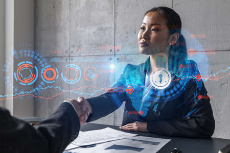 Two woman handshake. Education protection of data hologram. Multiexposure. International business. Stock fotó