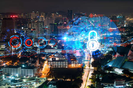 Glowing Padlock hologram, night panoramic city view of Kuala Lumpur, Malaysia, Asia. The concept of cyber security to protect KL companies. Double exposure. Stock fotó - 154752135
