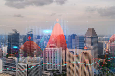 Glowing FOREX graph hologram, aerial panoramic cityscape of Singapore at sunset. Stock and bond trading in Asia. The concept of fund management. Double exposure.