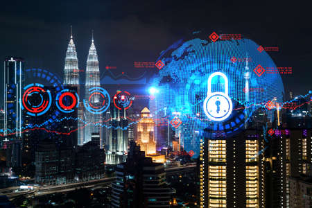 Glowing Padlock hologram, night panoramic city view of Kuala Lumpur, Malaysia, Asia. The concept of cyber security to protect KL companies. Double exposure. Reklamní fotografie