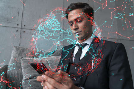 Man in office working with Smartphone, Searching for new countries to work with. International world map hologram, typing phone. Double exposure.
