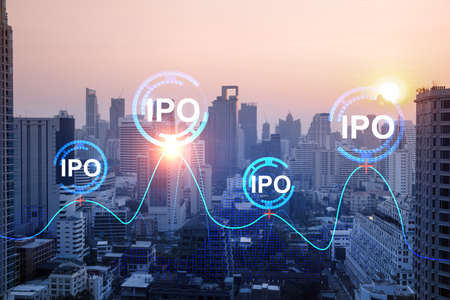 Hologram of IPO glowing icon, sunset panoramic city view of Bangkok. The financial hub for transnational companies in Asia. The concept of boosting the growth by IPO process. Double exposure. Stock Photo