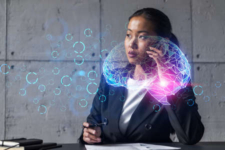 Businesswoman talking phone and brain Ai technology hologram. Double exposure. Brainstorm concept. Stock fotó