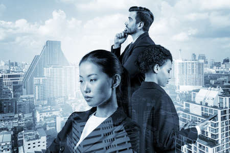 Group of three business colleagues in suits dreaming about new career opportunities after MBA graduation. Concept of multinational corporate team. Bangkok on background. Double exposure.