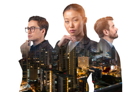 Double exposure of three young, successful, business people, man and woman, standing in front of Asian city Bangkok background. Concept of hard work and study. Modern life way. Night time.