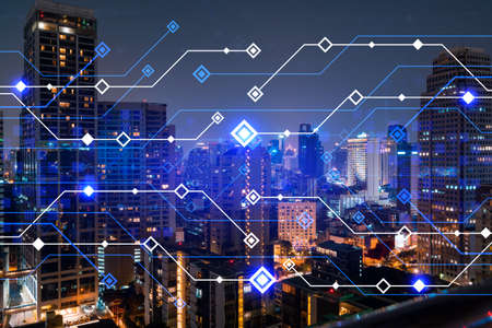 Information flow hologram, night panorama city view of Bangkok. The largest technological center in Asia. The concept of programming science. Double exposure.