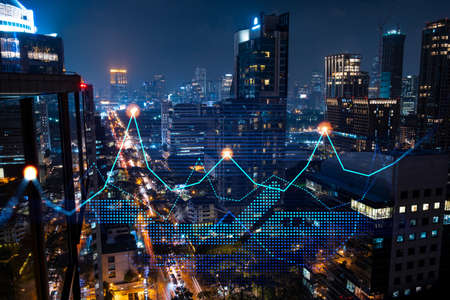 Stock market graph hologram, night panorama city view of Bangkok, popular location to gain financial education in Asia. The concept of international research. Double exposure. Banque d'images