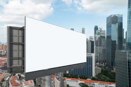 Blank white road billboard with Singapore cityscape background at day time. Street advertising poster, mock up, 3D rendering. Side view. The concept of marketing communication or sell idea.
