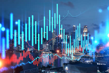 FOREX graph hologram, aerial night panoramic cityscape of Singapore, the developed location for stock market researchers in Asia. The concept of fundamental analysis. Double exposure.