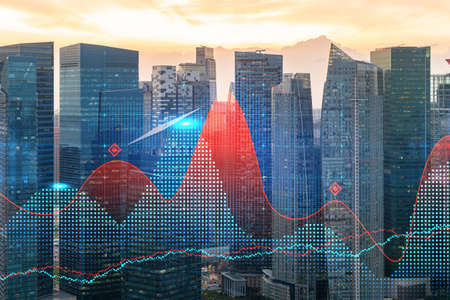Glowing FOREX graph hologram, aerial panoramic cityscape of Singapore at sunset. Stock and bond trading in Asia. The concept of fund management. Double exposure. Stock Photo