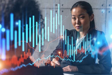 Two woman handshake. forex market concept Financial graph hologram. Multiexposure. International business.