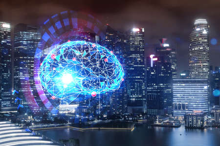 Human brain hologram, aerial panoramic city view of Singapore at night. Educational cluster in Asia. The concept of artificial intelligence. Double exposure.