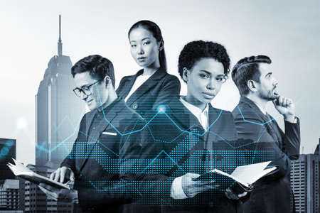 Group of business colleagues in suits as a part of multinational corporate team working on forecasting trading corporate strategy at fund. Forex chart. Kuala Lumpur on background. Double exposure Фото со стока