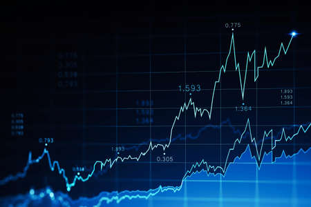 Immersive trading and graph interface over dark blue background. Concept of stock market. 3d rendering toned image double exposure