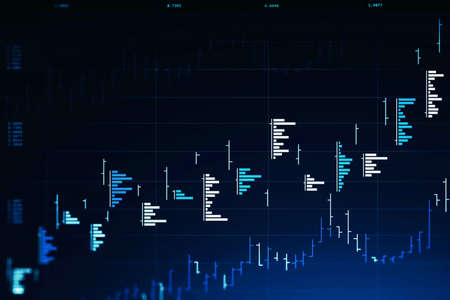 Futuristic trading and graph interface over dark blue background. Concept of stock market. 3d rendering toned image double exposure Фото со стока