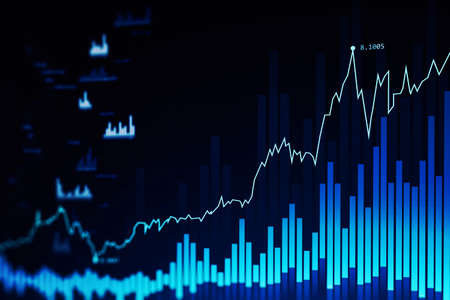 Modern trading and graph interface over dark blue background. Concept of stock market. 3d rendering toned image double exposure
