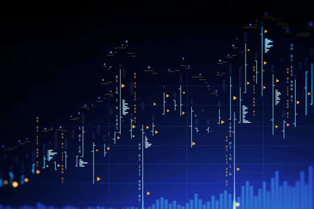 Futuristic trading and graph interface over blue background. Concept of stock market. 3d rendering toned image double exposure Фото со стока