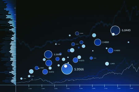 Modern trading and graph interface over blue background. Concept of stock market. 3d rendering toned image double exposure