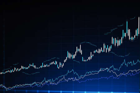 Modern stock market and graph interface over dark blue background. Concept of trading. 3d rendering toned image double exposure