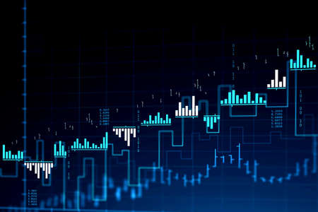 Immersive stock market and graph interface over blue background. Concept of trading. 3d rendering toned image double exposure Фото со стока