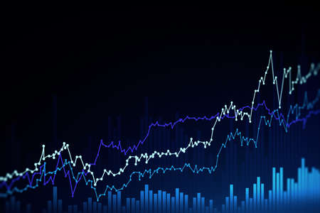 Futuristic stock market and graph interface over dark blue background. Concept of trading. 3d rendering toned image double exposure