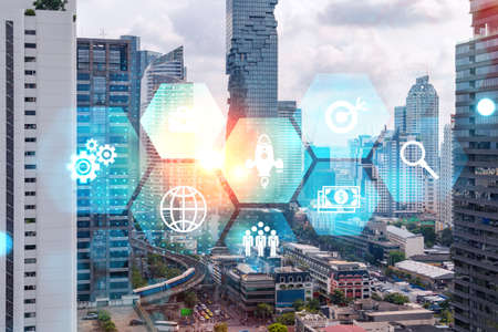 Research and development hologram over panorama city view of Bangkok, hub of new technologies to optimize business in Asia. Concept of exceeding opportunities. Double exposure. 版權商用圖片