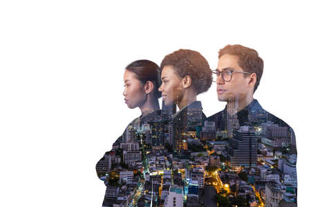 Double exposure of three young, successful, business people, man and woman, standing in front of Asian city Bangkok background. Concept of hard work and study. Modern life way. Night time. Stockfoto