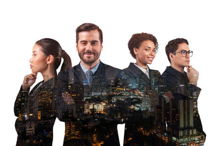 Double exposure of four young, successful, business people standing in front of Asian city Bangkok background. Concept of international teamwork together. Night time. Stockfoto