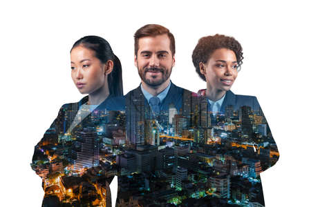 Double exposure of three young, successful, business people, man and woman, standing in front of Asian city Bangkok background. Concept of hard work and study. Modern life way. Night time. Imagens