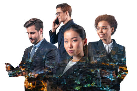 Double exposure of four young, successful, business people standing in front of Asian city Bangkok background. Concept of international teamwork together. Night time. Imagens