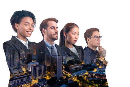 Double exposure of four young, successful, business people standing in front of Asian city Kuala Lumpur background. Concept of international team work together. Night time.