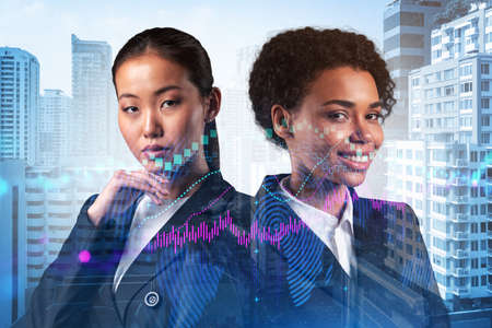Two young attractive businesswoman in suits dreaming about new career opportunities after MBA graduation. Trading at corporate finance fund. Forex chart. Bangkok on background. Double exposure.
