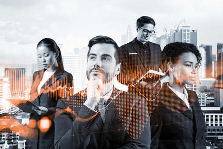 Group of business colleagues in suits as a part of multinational corporate team working on forecasting trading corporate strategy at fund. Forex chart. Kuala Lumpur on background. Double exposure Stock fotó