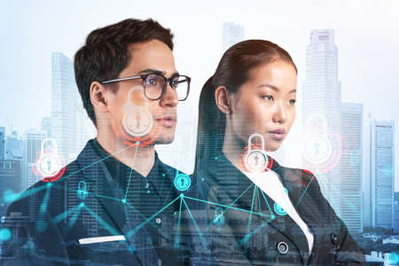 Two colleagues in multinational corporate team thinking about career opportunities at cybersecurity compliance division to protect clients confidential information. IT lock icons over Singapore.